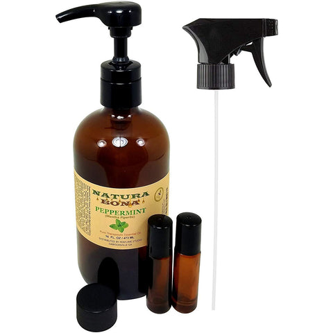 Peppermint Essential Oil 16 oz Spray/Pump in Amber Glass Bottle with 2, 7ml Roller Bottles