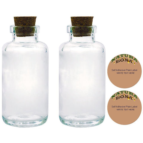 Natura Bona Apothecary Glass Bottles with Tapered Cork, 6oz/170g Clear Thick Glass with Two Blank Adhesive Labels. (2, 6oz Bottle)