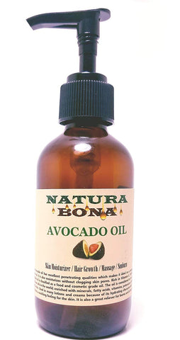 Avocado Oil 100% Pure Organic Cold Pressed; 4 OZ Pump Bottle: