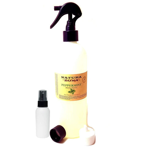 Peppermint Essential Oil Use to Naturally Repel Pests Insects; 16.3 oz Trigger Spray, Travel Cap, Flip Top Dispenser, 2oz Empty Sprayer Bottle