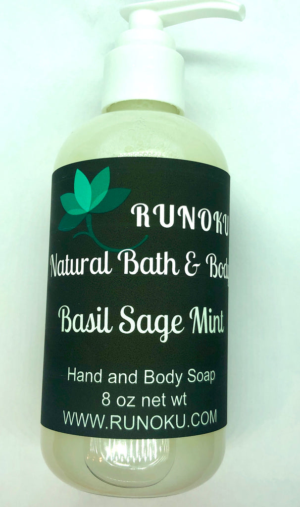 Basil Sage Mint 8oz Hand and Body Soap