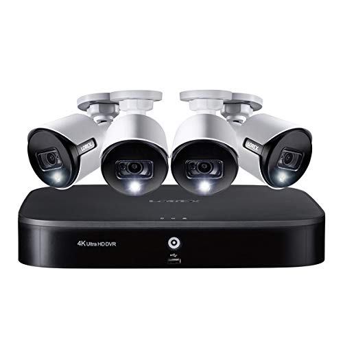 4K Ultra HD 8-Channel Security System with 2 TB DVR and Four 4K Ultra HD Bullet Security Cameras with Color Night Vision, Active Deterrence, and Smart Home Voice Control