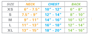 Dog Pajama Sizing Chart