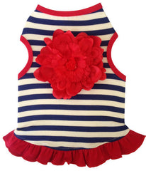 Navy and White Stripe Dress with Red Flower