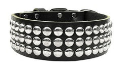 Masculine Leather Double Stud Dots Dog Collar