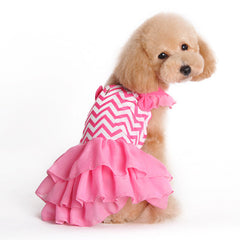 Pink Chevron Ruffle Dog Dress
