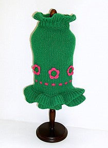Green Ruffle Knit Dog Sweater with pink rosette flowers
