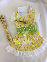 Yellow Floral and Lace Dog Dress