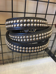 Leather Dog Collar With Studs - Two Rows