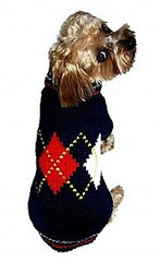 Navy Argyle Dog Sweater