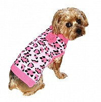 Pink Leopard Knit Dog Sweater