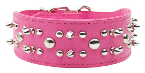 Pink Spiked Leather Dog Collar