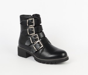 Bottines montantes noires à boucles New-Yorker