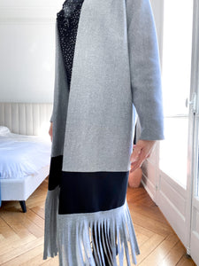 soldes 60% - Manteau à franges mi-saison Step up my Game - Gris