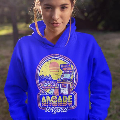 80's Retro Gaming Arcade Wizard Design Vibrant Blue Women's Hoodie-Men's Clothing-Laundry Day Apparel