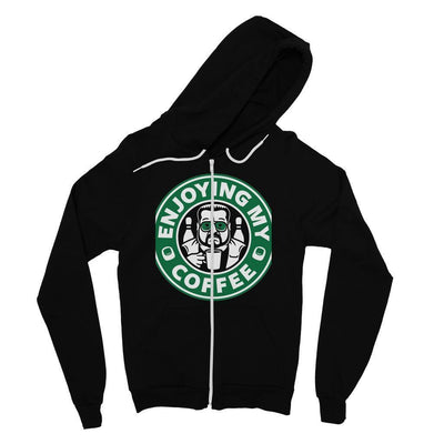 Unisex Black Zip Up Sweater Hoodie Enjoying Your Expensive Beverage-Men's Clothing-Laundry Day Apparel