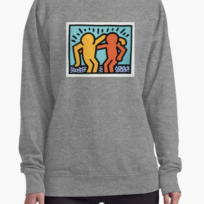 Cute and comfy Keith Haring long-sleeved sweatshirt for women and men-Women's Clothing-Laundry Day Apparel