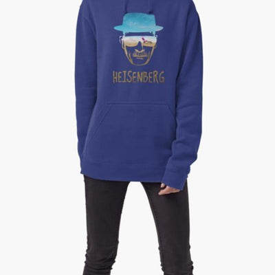Comfortable and stylish blue hoodie with a Heisenberg graphic-Men's Clothing-Laundry Day Apparel