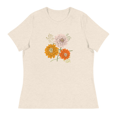 Cute and stylish pastel women's t-shirt with scattered flowers-Laundry Day Apparel