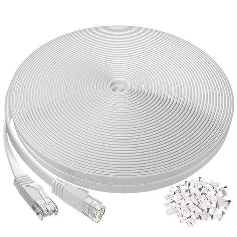 8061White Ethernet Cable 100 ft, Flat Long Cat6 Internet Cable 000020200406