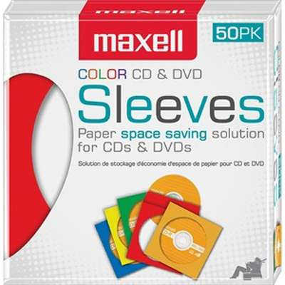 Maxell CD & DVD Paper Storage Envelope Sleeves with Clear Plastic Windows Multi-Color 50 Pack (190134)