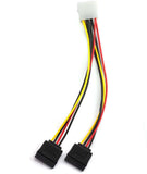 6in 4 Pin Male IDE Molex to 15 Pin Female Dual SATA Power Splitter Adapter Cable - 46344273