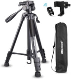 UBeesize 60-inch Camera Tripod, Portable Lightweight Aluminum Travel Tripod with Carry Bag & Bluetooth Remote (TR60)