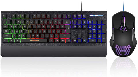 K01BK Kolmax Black Gaming Keyboard and Mouse Combo, Rainbow LED Backlit 6956766940835