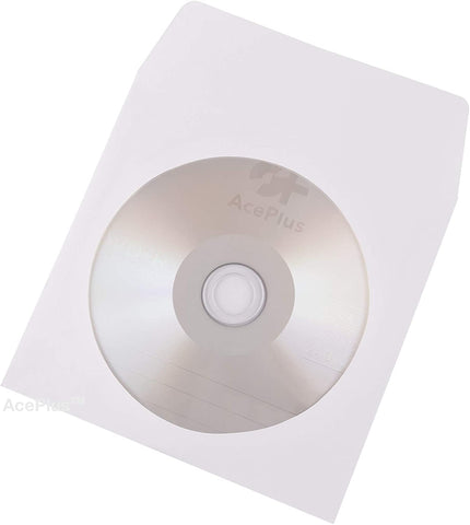 AcePlus 100 Premium White Paper Sleeves for CD / DVDs - Envelopes with Clear Window and Flap with Close Tab