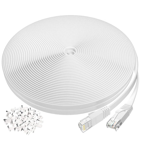 X001A6X8PX 50ft Cat6 Ethernet Cable, Flat Internet Network LAN Patch Cord with Clips, White 714929947048