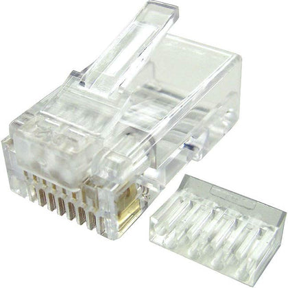 Modular Plugs for Cat6 Solid Cable, 1 piece installed on bulk cable
