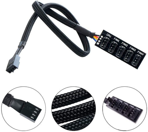 PWM Fan Hub Splitter, Black Sleeved 1 to 5 Way PC CPU Adapter Cable for Computer 4-Pin & 3-Pin (20050902) 782913967372