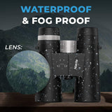 NISKITE Compact Binoculars for Adults, High Power 12x42 Roof Prism Binocular with Low Light Night Vision,Waterproof Fogproof Binoculars (NK-JN02-US)