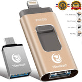 YSeaWolf 256GB 4-in-1 USB Flash Drive Type C Flash Drive 3.0 (Gold) (X0021UUT3T)