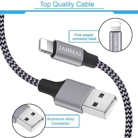 Jahmai Nylon Braided Fast Charging Cord 6ft Data Sync Transfer Lightning Cable/Adapter (GS-50210A)