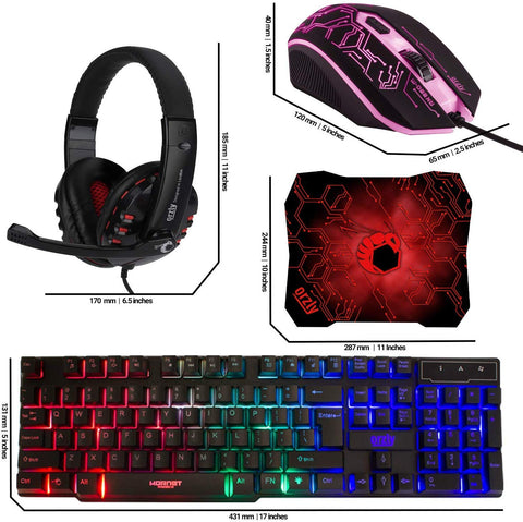 RX-250 Orzly Gaming Keyboard, Mouse/Mouse pad & Gaming Headset, Wired LED RGB Backlight X0028OFTUN