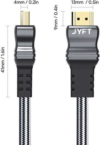 JYFT 6ft HDMI Cable HDMI 2.1, 120Hz Ultra HD, Ethernet & Audio Return (675663071515)  X0027TIQFT