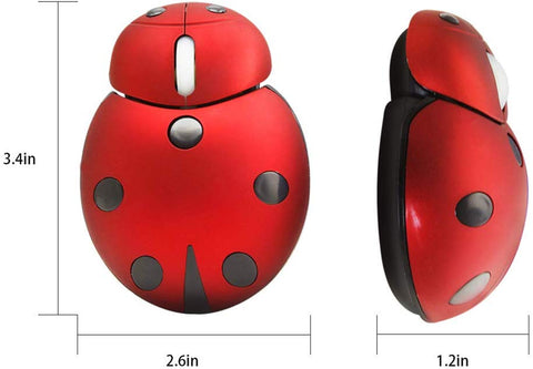 2.4G Wireless Mouse Small Cute Animal Ladybug Shape 3000DPI Portable Mobile Optical Mouse with USB Receiver