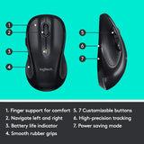 Logitech M510 Wireless Computer Mouse – Comfortable Shape with USB Unifying Receiver, with Back/Forward Buttons and Side-to-Side Scrolling