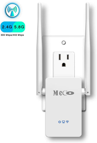 MECO WiFi Range Extender, WiFi Repeater Wireless Signal Booster, 2.4 & 5GHz Dual Band WiFi Extender with Ethernet Port (AC750)