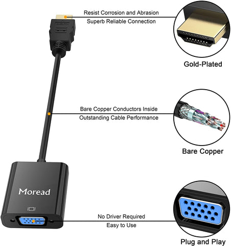 Moread Gold-Plated HDMI to VGA Adapter (Male to Female) for Computer, Desktop, Laptop, PC, Monitor, Projector, HDTV, Chromebook, Raspberry Pi, Roku, Xbox and More