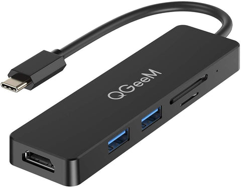 QGEEM 5 in 1 USB C to HDMI 4K, USB 3.0, SD/TF Card Reader, Compatible with MacBook Pro (M5VC02)