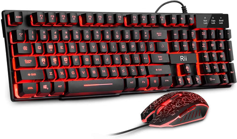 RK108 Rii Gaming Keyboard and Mouse Set, 3-LED Backlit Mechanical Feel Business, Office x002c64irh