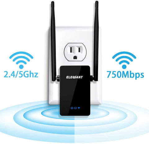 ELEGIANT WiFi Range Extender, 750Mbps Wireless WiFi Repeater Signal Amplifier Booster Supports Router Mode/Repeater/Access Point, 2.4 & 5GHz Dual Band WiFi Repeater with 360 Degree WiFi Coverage (4774)