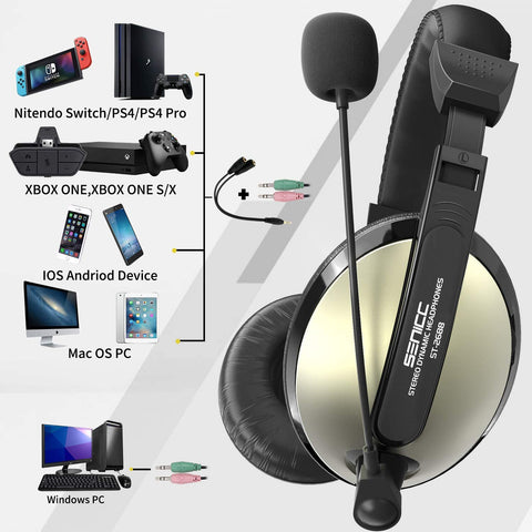 ST-2688 Senicc 2 Pack Gaming Headset with Mic Volume Control Wired Headset X002F6O6IZ