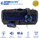 SportsBot Blue LED Gaming Over-Ear Headset Headphone, Keyboard & Mouse Combo (SS301-BLU) x001adrmpx