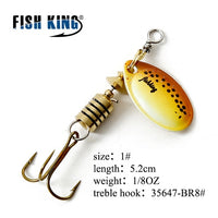 FISH KING Spinner Bait Mepps 1PC 3 Color 1# 2# 3# 4# 5# Fishing Lure Bass Hard Baits Spoon With Treble Hook Tackle High Quality