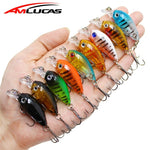 Amlucas Mini Crankbait 4.5cm 4.1g Chubby Spinner Topwater Crankbait Artificial Hard Bait Wobblers Minnow Fishing Lures WW333Y