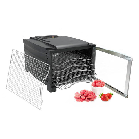 BioChef Arizona 6 Tray Food Dehydrator front left open strawberries