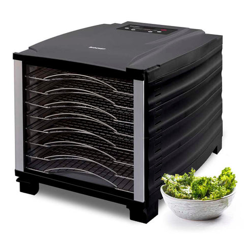 BioChef Arizona 8 Tray Food Dehydrator black right front closed brocolli